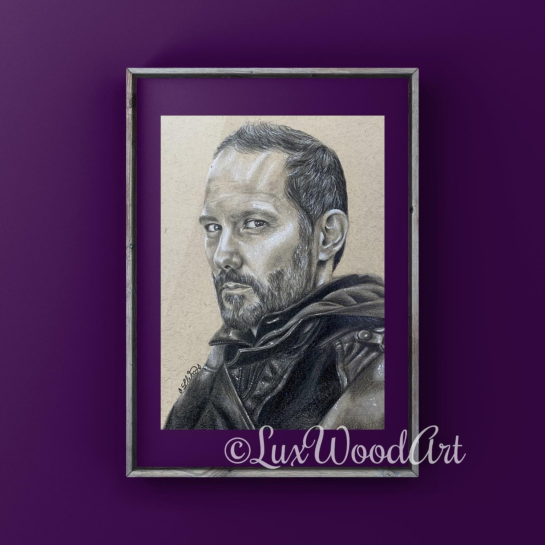 Sébastien Lalanne portrait 2 - Color pencil and white Posca pen on toned tan paper