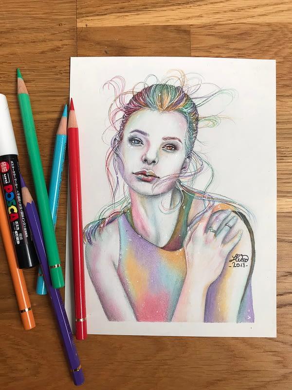 Kristine Froseth portrait 3 - Original color pencil drawing - fanart