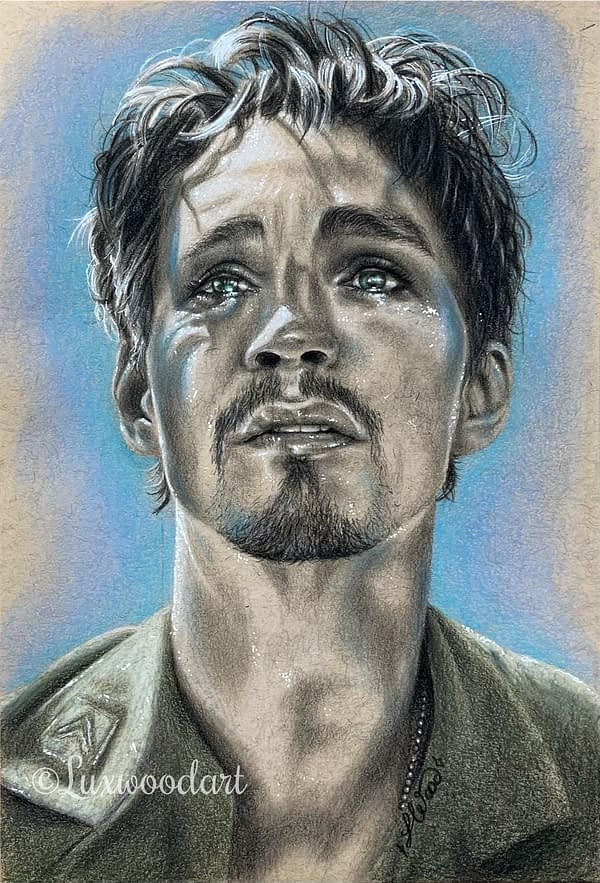 Robert Sheehan portrait 11 - Color pencil and white Posca pen on toned tan paper