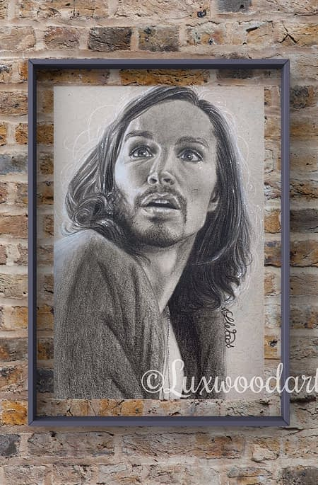 Robert Sheehan portrait 9 - Color pencil and white Posca pen on toned tan paper