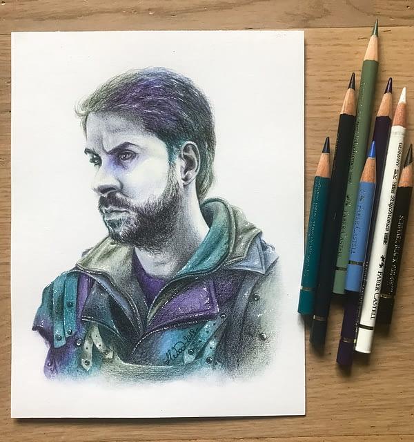 John - Original color pencil drawing - Hero Corp fanart