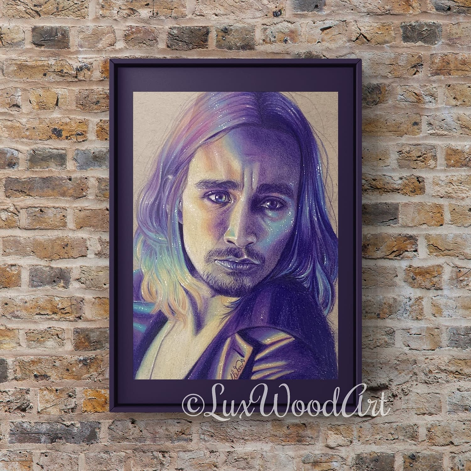 Robert Sheehan portrait 15 - Color pencil and white Posca pen on toned tan paper