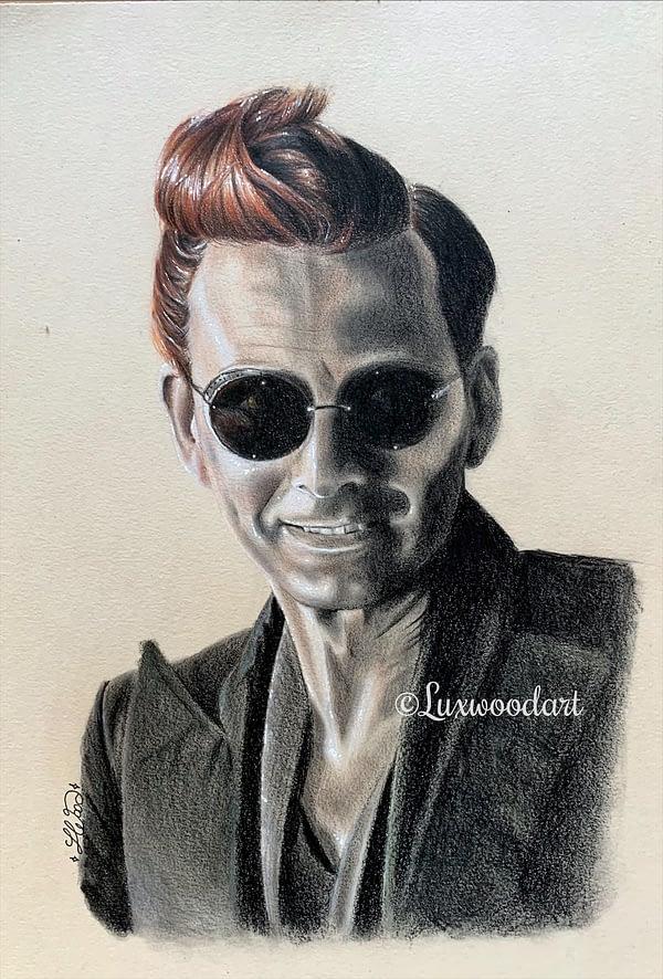 Crowley portrait 2 - David Tennant original color pencil portrait on toned paper - Good omens fanart