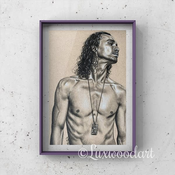 Robert Sheehan portrait 4 - Color pencil and white Posca pen on toned tan paper