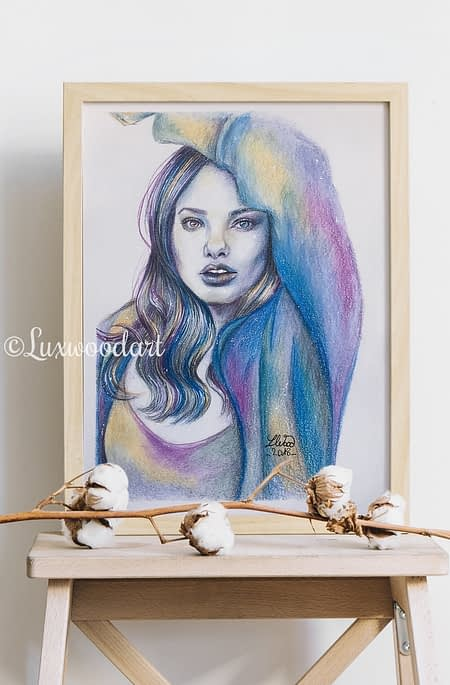 Kristine Froseth portrait 2 - Original color pencil drawing - fanart