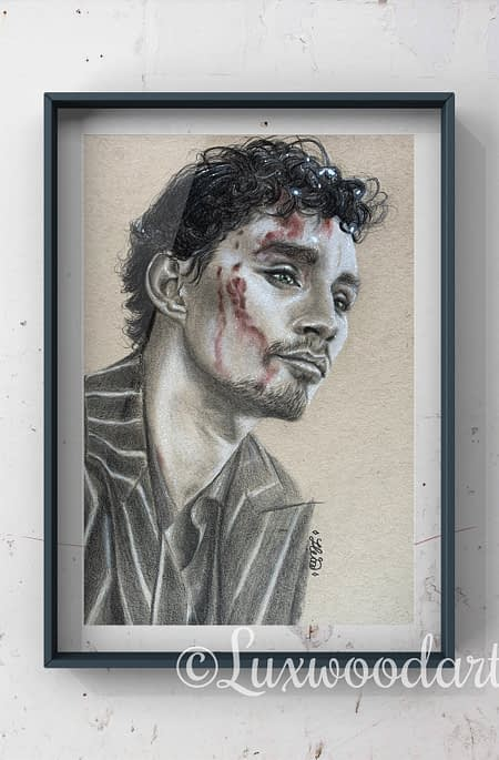 Robert Sheehan portrait 3 - Color pencil and white Posca pen on toned tan paper