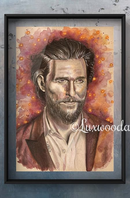 Matthew McConaughey original mixed media portrait on toned paper - fanart