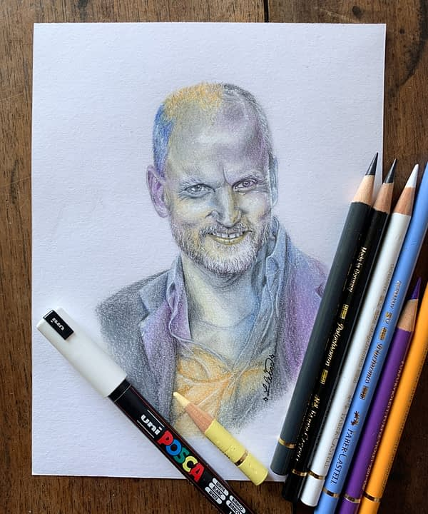Woody Harrelson original color pencil drawing - Zombieland fanart