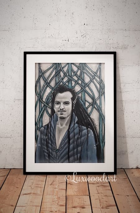 Lost in dark waves original illustration by Lux Wood - Andrew Scott fanart