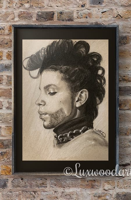 Prince portrait 1 - Color pencil and white Posca pen on toned tan paper
