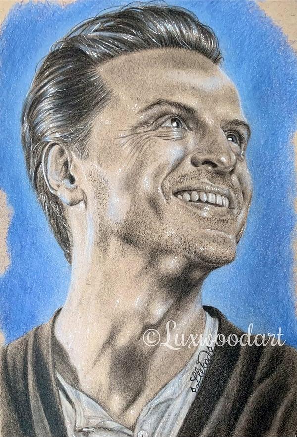 Andrew Scott portrait 6 - Color pencil and white Posca pen on toned tan paper