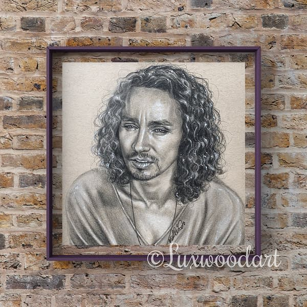 Robert Sheehan portrait 6 - Color pencil and white Posca pen on toned tan paper