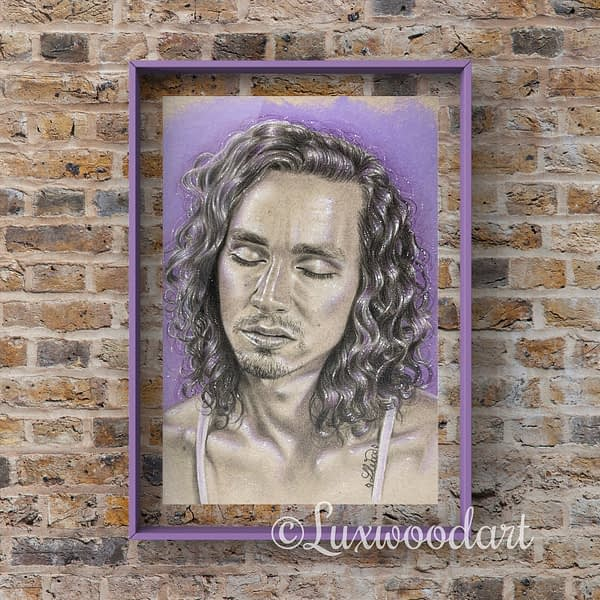 Robert Sheehan portrait 10- Color pencil and white Posca pen on toned tan paper