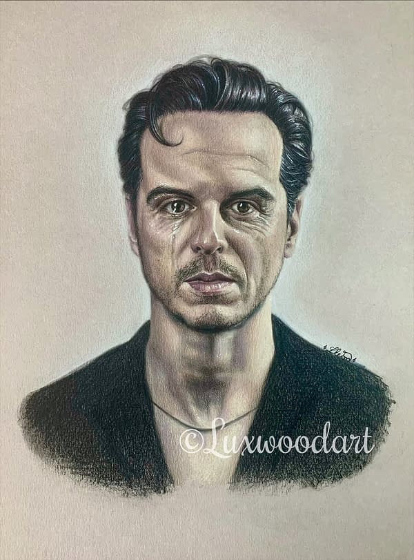 Andrew Scott portrait 5 - Color pencil and white Posca pen on natural tinted paper