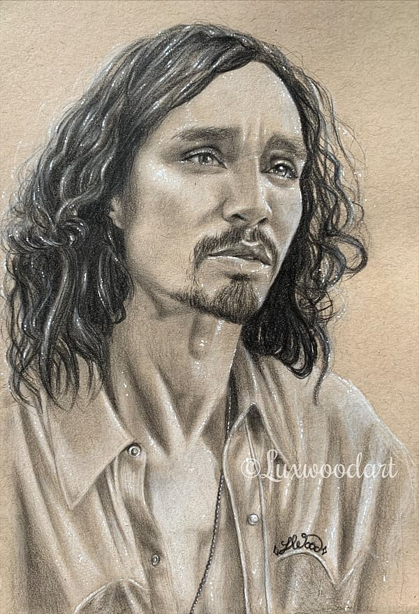 Robert Sheehan portrait 2 - Color pencil and white Posca pen on toned tan paper