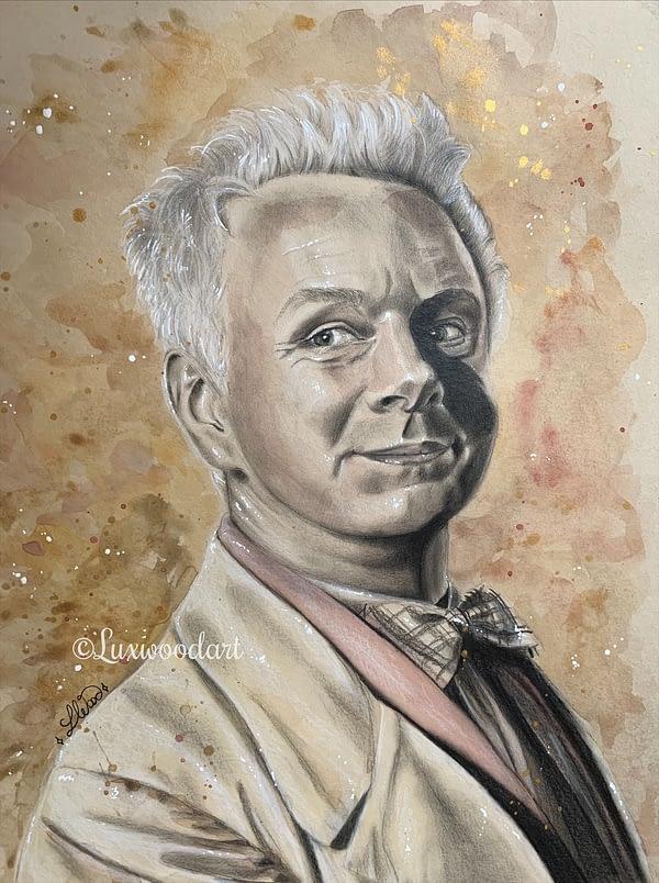 Aziraphale / Michael Sheen original mixed media portrait on toned paper - Good omens fanart