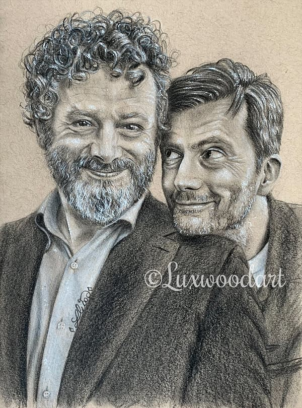 Michael Sheen and David Tennant portrait 2 - Color pencil and white Posca pen on toned tan paper