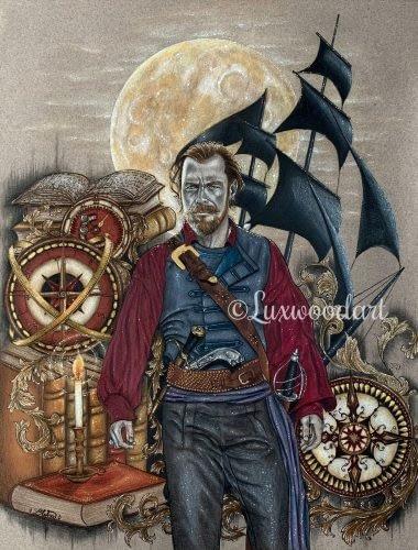 Never surrender - Toby Stephens - Mixed media illustration on paper - Black Sails fanart