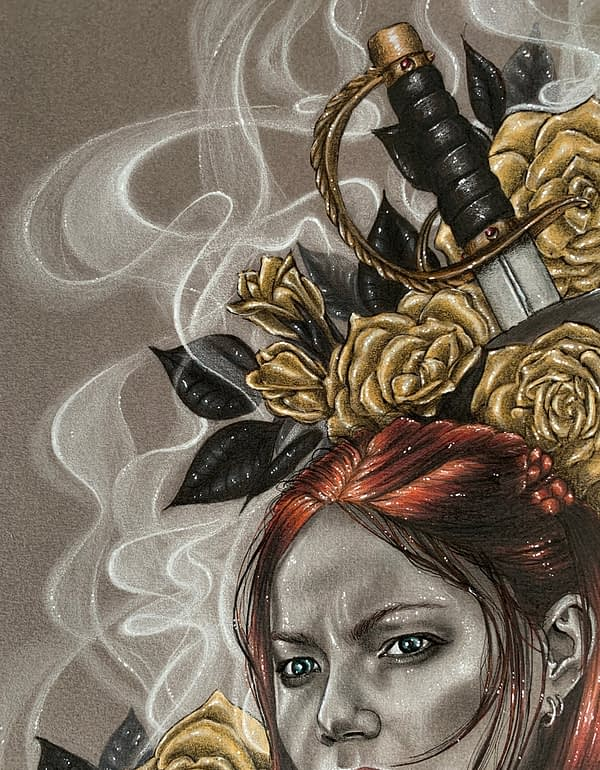 Anne Bonny - Closeup - Mixed media illustration on paper - Black Sails fanart