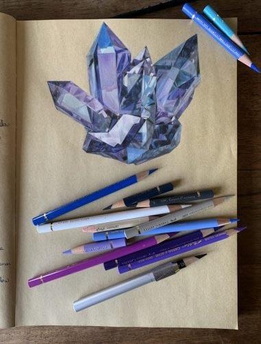 Blue crystal - pencils - Lux Wood Art