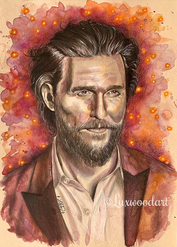 Matthew McConaughey original mixed media portrait on toned paper - fanart