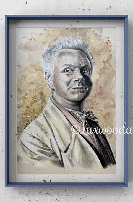 Aziraphale portrait 2 Michael Sheen original mixed media portrait on toned paper - Good omens fanart
