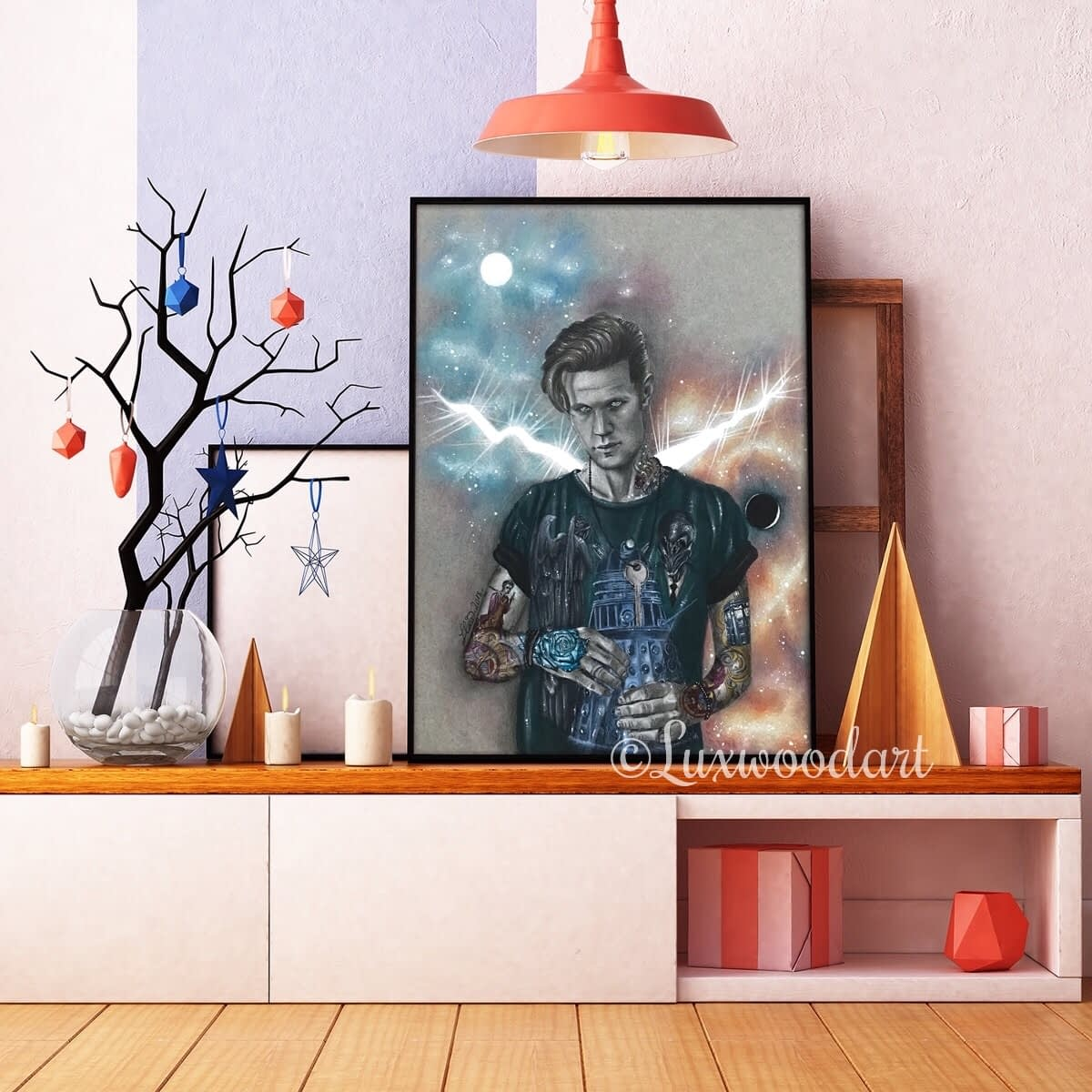 Galaxies and tattoos are cool – framed – WM – Lux Wood Art