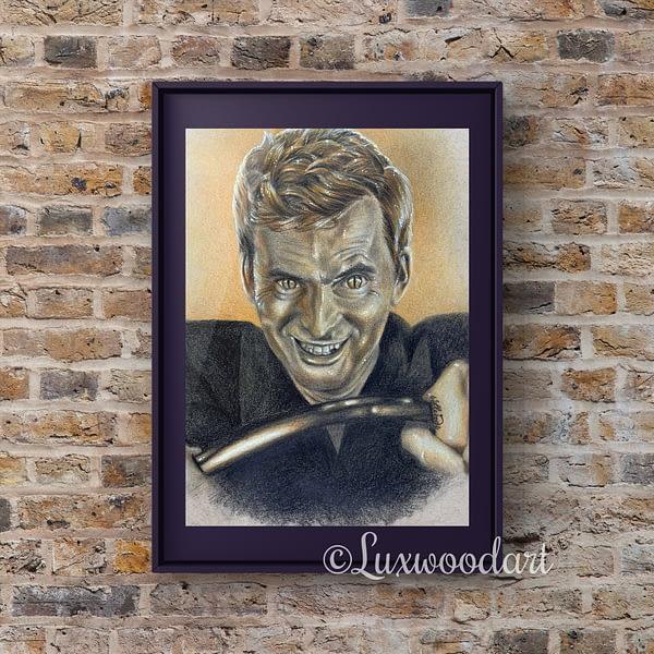 Crowley portrait 3 - Color pencil and white Posca pen on toned tan paper