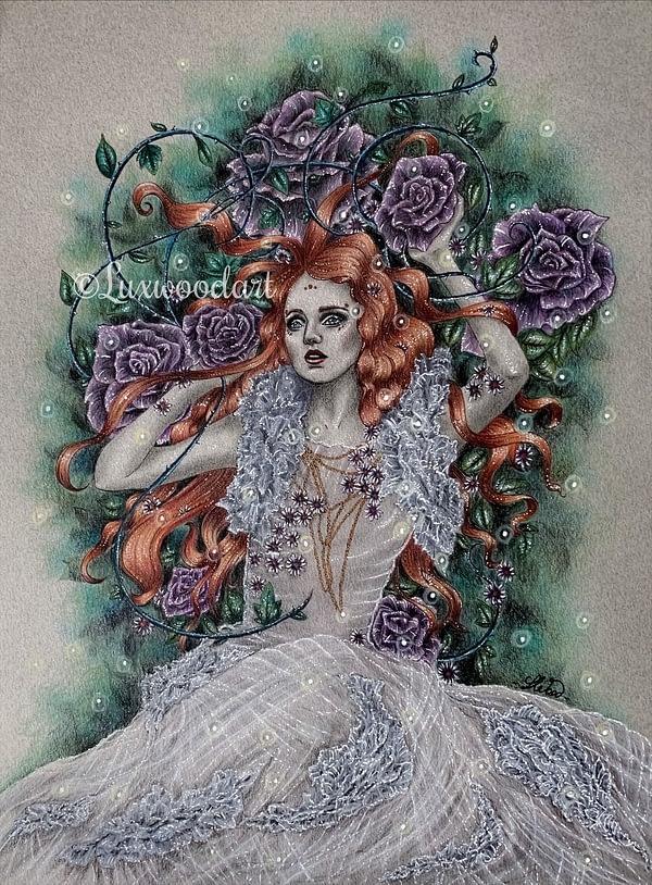Underwood Diva - Original illustration - fairy girl lying on grass and flowers
