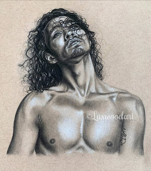 Robert Sheehan portrait 7 - Color pencil and white Posca pen on toned tan paper
