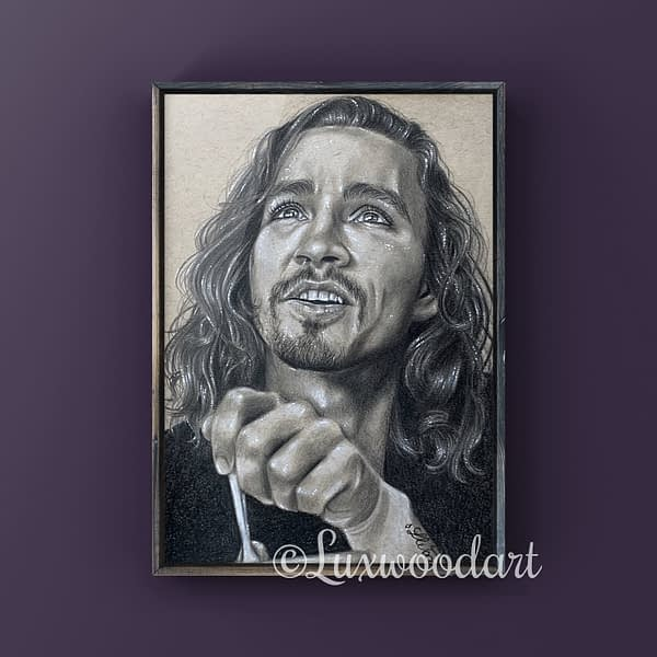 Robert Sheehan portrait 12 - Color pencil and white Posca pen on toned tan paper