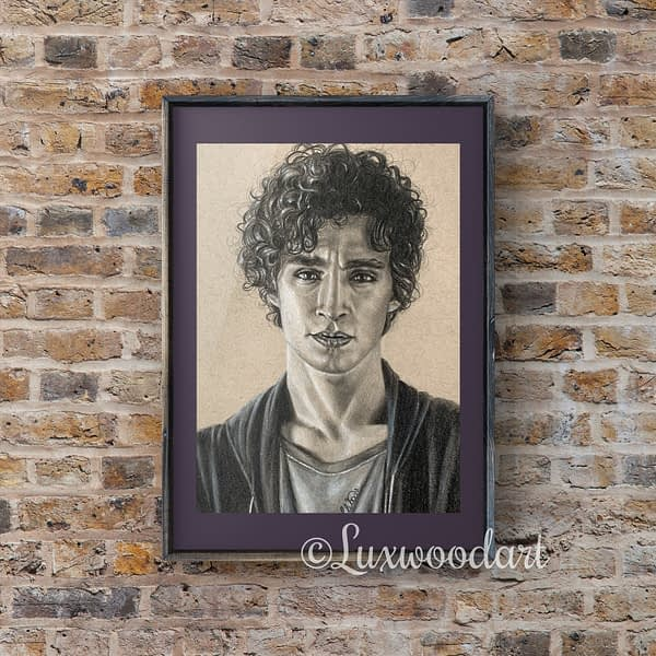Robert Sheehan portrait 8 - Color pencil and white Posca pen on toned tan paper