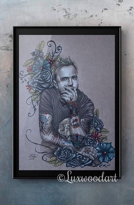 So Blue original illustration - portrait of Aaron Paul - Fanart
