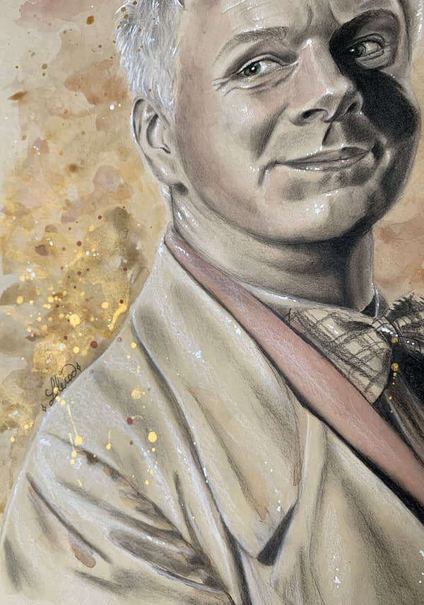 Aziraphale portrait 2 Michael Sheen original mixed media portrait on toned paper - Good omens fanart