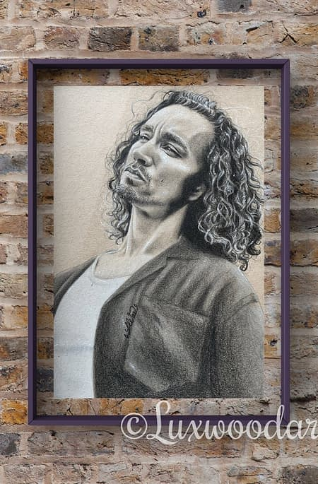 Robert Sheehan portrait 5 - Color pencil and white Posca pen on toned tan paper