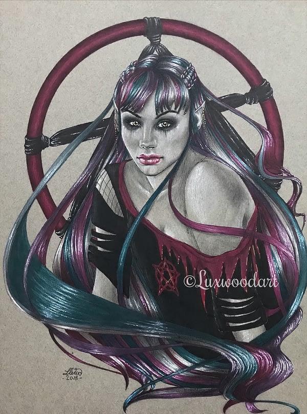 Punk rock elfe original drawing by Lux Wood - Dirk Gently Fanart
