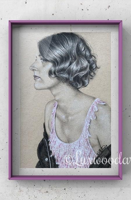 Phoebe Waller Bridge portrait 2 - Color pencil and white Posca pen on toned tan paper