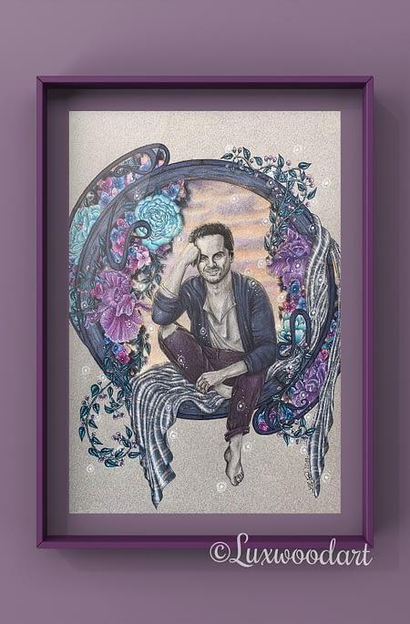 Breathe the magic - Original mixed media illustration - commission - Andrew Scott fanart