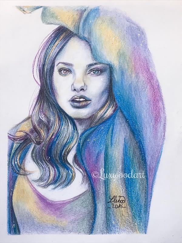 Kristine Froseth portrait 2 - Original color pencil drawing - fanart