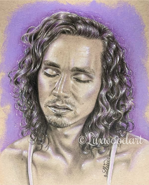 Robert Sheehan portrait 10 - Color pencil and white Posca pen on toned tan paper
