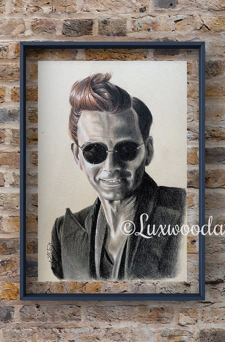 Crowley portrait 2 - David Tennant original mixed media portrait on toned paper - Good omens fanart