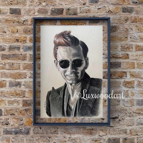 Crowley portrait 2 - David Tennant original mixed media portrait on toned paper - Good omens fanart