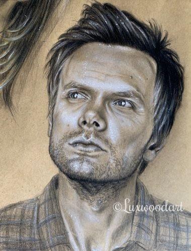 Joel McHale original color pencil portrait on kraft paper - Community fanart