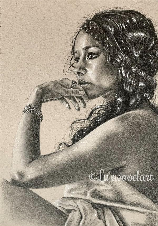 Jessica Parker Kennedy portrait 3 - Color pencil and white Posca pen on toned tan paper