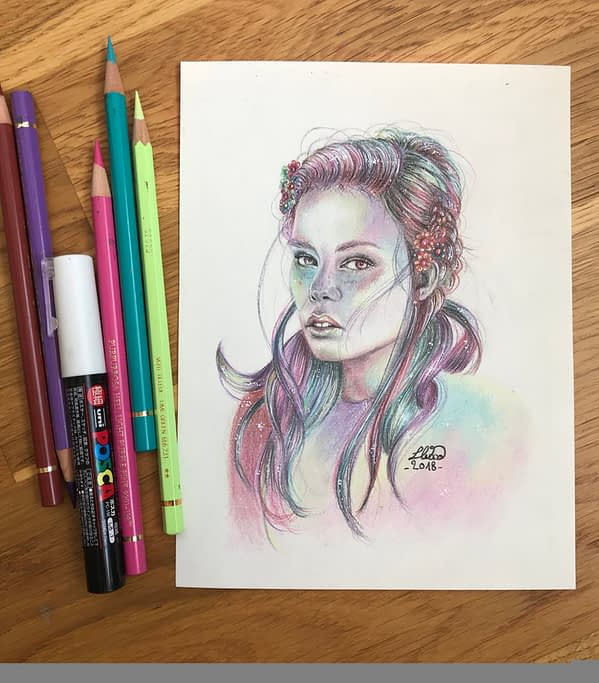 Kristine Froseth portrait 4 - Original color pencil drawing - fanart